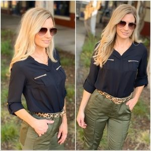 Black Zipper Pocket Top